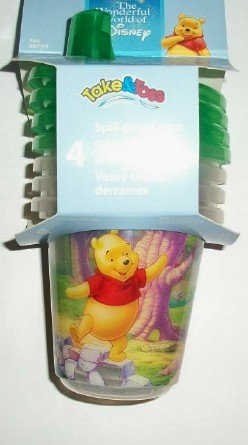 Disney Winnie The Pooh W/ Piglet & Tigger Green Take & Toss Set Of 3 - 10 Oz. Sippy Cups front-884157