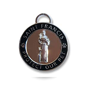 Luxepets Pet Collar Charm, Saint Francis of Assisi, Large, Black