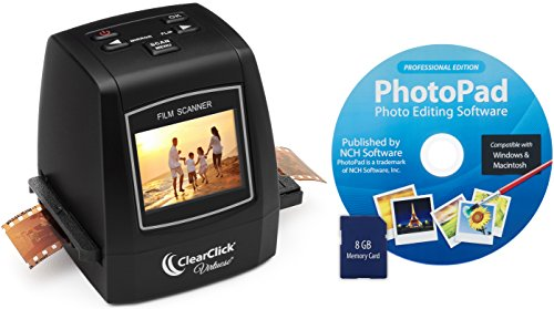 ClearClick-22MP-Virtuoso-Film-Slide-Scanner-with-PhotoPad-Software-8-GB-Memory-Card-Convert-35mm-110-126-Super-8-Film-To-Digital