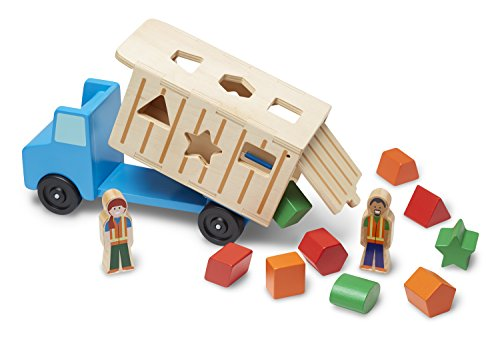 Melissa-Doug-Shape-Sorting-Wooden-Dump-Truck-Toy-With-9-Colorful-Shapes-and-2-Play-Figures