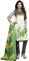 Women`s Green Cotton Printed Dress Material