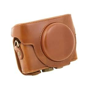 Cahaya étui appareil photo sacs en Cuir PU pour Sony DSC-RX100 Camera brun