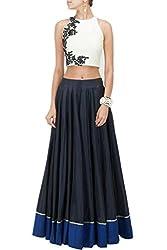 Fashion Gallery White Blue Georgette Net Designer Lehenga