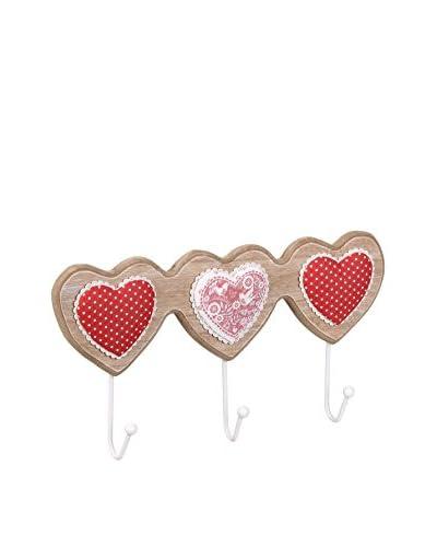 Romantic Style Perchero De Pared Heart Rojo / Blanco