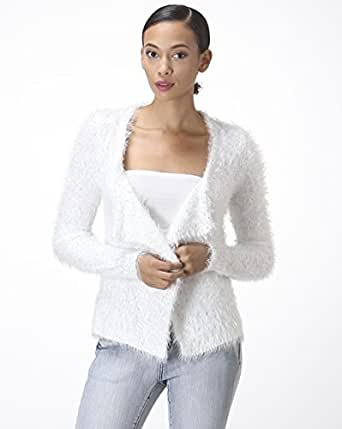 CARAPACE Womens Women's Sequined Fuzzy Cardigan Sweater WHITE L at
