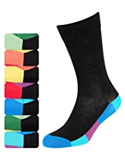 7 Pairs of Freshfeet™ Cotton Rich Bright Sole Socks with Silver Technology