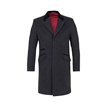 Mens Wool & Cashmere Luxury Blend Coat With Velvet Trim Collar (S, Grey)