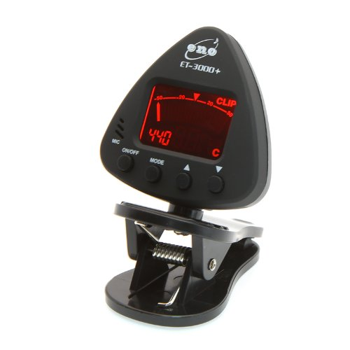 Tomtop Led Clip-On Electronic Digital Guitar Chromatic Bass Violin Tuner With Mic Black