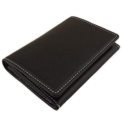 名刺入れ 高品質牛革(本革・レザー) 選べる10カラー カードケース (ブラック(白ステッチ))