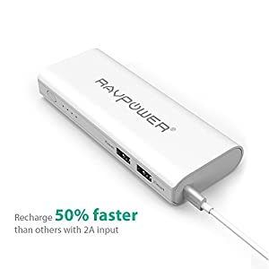 Portable Charger RAVPower 13400mAh (2A Input, 4.5A Dual USB Output) Power Bank External Battery Pack with iSmart Technology for iPhone, iPad, Smartphones and Tablets (White) from RAVPower