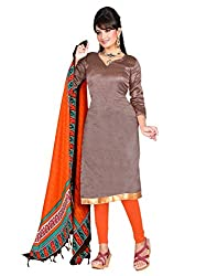 Yehii Women's Silk Brown Plain / Solid dress material Unstitched Salwar Kameez Dupatta for women party wear low price Below Sale Offer