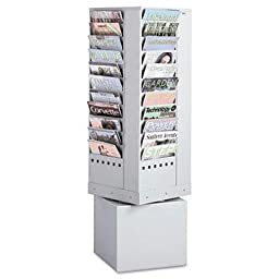 Safco - Steel Rotary Magazine Rack 44 Compartments 14W X 14D X 48H Gray \