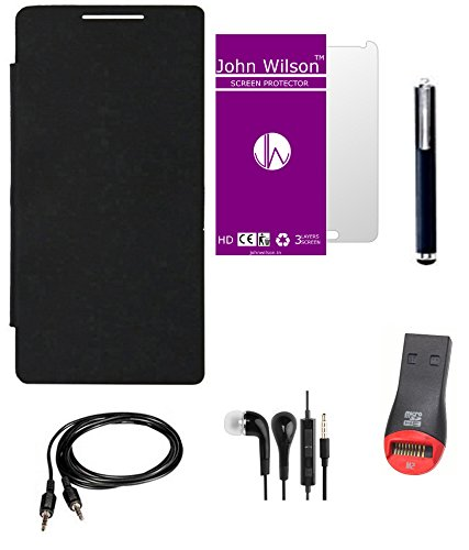 John Wilson Micromax Canvas Xpress A99 Flip Cover - Black + Screen Cover + Ear Phone + Aux Cable + Stylus + Card Reader : Mid Kit