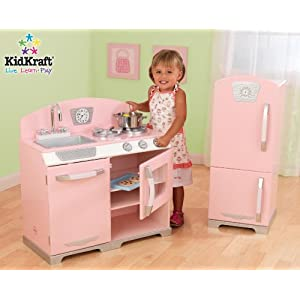 Kidkraft Retro Pink Wooden Kitchen and Fridge System
