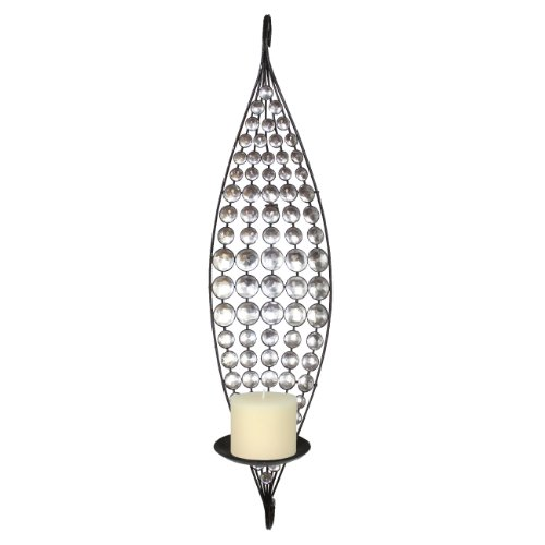 Home Source 400-22316 Decorative Metal Wall Sconce with Candle Holder, 23.8 by 6.89-Inch