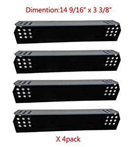 "97371(4-pack) Porcelain Steel Heat Plate Replacement for Select Grill Master and Uberhaus Gas Grill Models (14 9/16"" x 3 3/8"") by BBQ Mart"