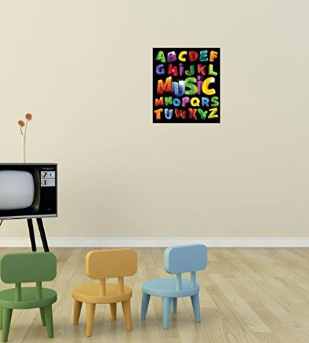 Design with Vinyl 3 Pro 26 Decor Item Full Alphabet Music ABC's School Daycare Wall Decal Peel and Stick Sticker Mural, 40 x 60-Inch