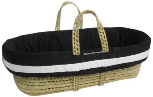 Baby Doll Bedding Zuma Moses Basket Set, Black/White