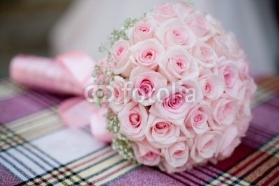 Wallmonkeys Peel and Stick Wall Decals - Wedding Bouquet with Pink Roses on Checkered Backgdrop - 72