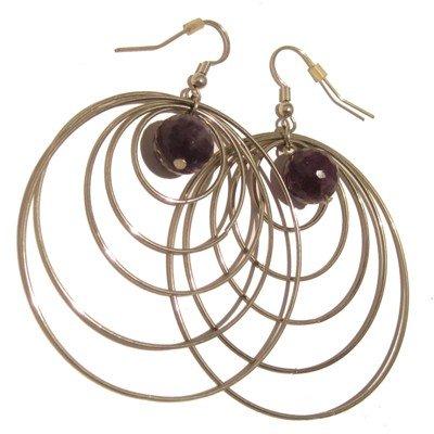 Amethyst Earrings 25 Hoop Faceted Purple Crystal Healing Gemstone 3