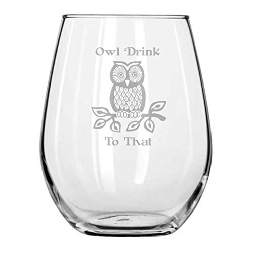 Owl Drink to That - Engraved Glass - Owls - Fall - Autumn Gifts - Halloween - Decor - Handmade - Housewarming Gifts - Christmas