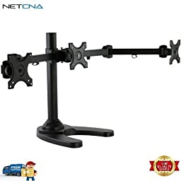 Triple Arm Freestanding Monitor Stand and Free 6 Feet Netcna HDMI Cable - By NETCNA