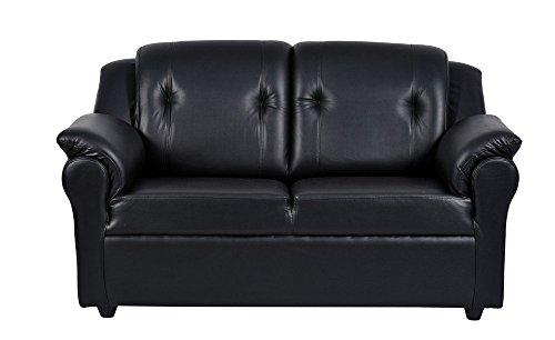 FabHomeDecor York Two Seater Sofa (Black)