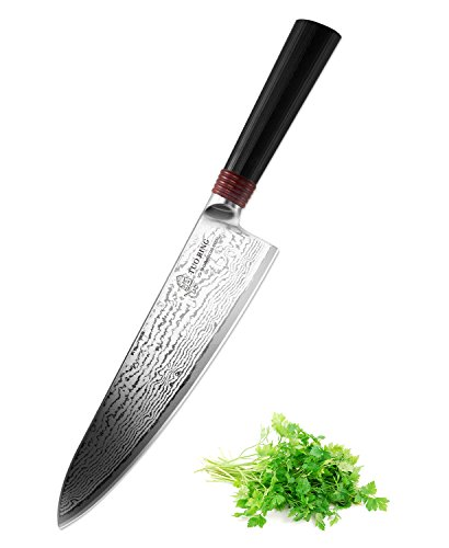 8-inch Pro Damascus Chef's Knife -RING Series By Tuo Cutlery With Japanese 67 Layers VG-10 Damascus Stainless Steel and G10