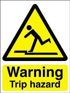 Hazard warning safety sign warning trip hazard amazon co uk