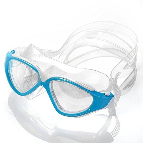 Schwimmbrille, HiCool Schwimmbrille 100% UV-Schutz + Antibeschlag + 180° View. Starkes Silikonband + Schnellverschluss + stabile Box.