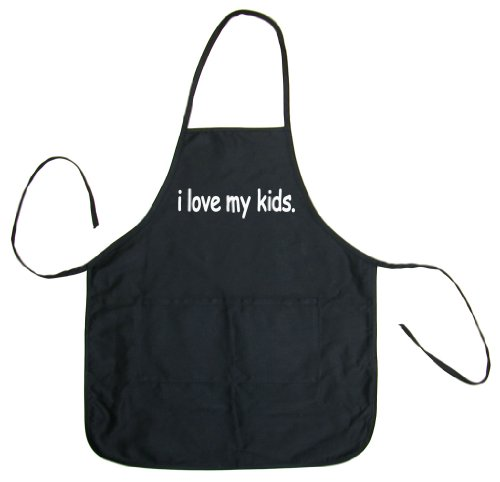 So Relative! I Love My Kids Adult BBQ Cooking & Grilling Apron (Black, One Size)