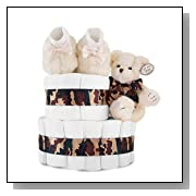 2 Tier Baby Shower Diaper Cake Centerpiece: Camouflage Couture