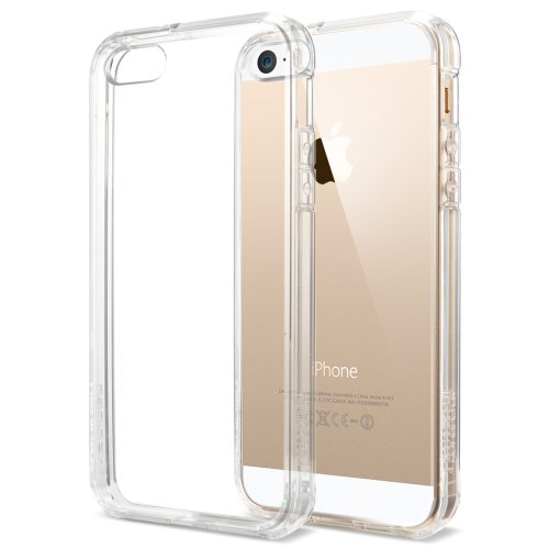[+Screen Film][AIR CUSHION] Spigen Apple iPhone 5S / 5 Case ULTRA HYBRID [Crystal Clear] [1 FREE Premium Japanese Screen Protector + 2 FREE Graphics] Bumper Case with Anti-Scratch Clear Back Panel + Air Cushion Technology Corners for iPhone 5S / 5 - ECO-F