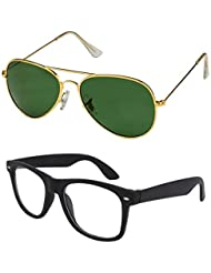 Unisex Uv Protected Combo Pack Of Aviator Sunglasses And Clear Wayfarer Sunglasses ( Golden Green - Clear Black...