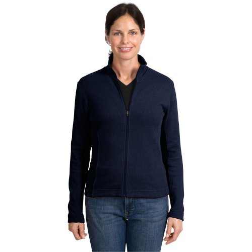 Port Authority Ladies Flatback Rib Full Zip Jacket, Navy, L