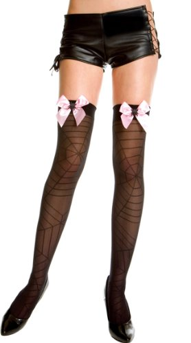 Music Legs Spider Web Design Thigh Highs Black/Pink One Size Fits Most