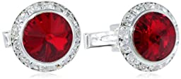 Stacy Adams Men\'s Silver Crystal Rondell Cuff Link, Ruby, One Size