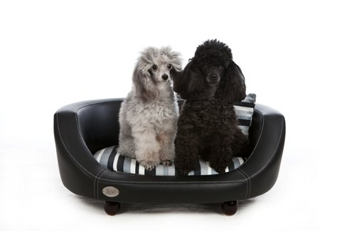CHESTER AND WELLS OXFORD II FAUX LEATHER DOG BED - BLACK - MEDIUM
