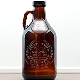 Personalized Engraved Home Brew Brewing Co Growler with Hops and Wheat Homebrew