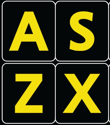 English Us Large Print Letters Black-Yellow Keyboard Stickers Contrast Colors ( Keys 11X13 Mm)