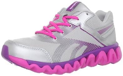 Reebok Ziglite Electrify Running Shoe (Little Kid/Big Kid),Steel/Silver/Pink/Aubergene,6 M US Big Kid