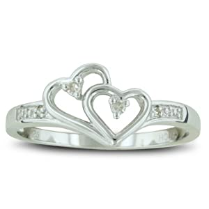 Double Heart Diamond Promise Ring, Availabe Ring Sizes 4-10, Ring Size 6.5