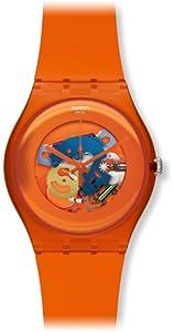 Swatch SUOO100 - Reloj analógico de cuarzo unisex con correa de plástico, color naranja por Swatch