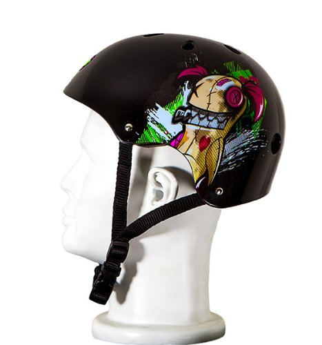 Punisher Skateboards Jinx 11-Vent Skateboard Helmet, Youth Size Medium, Black