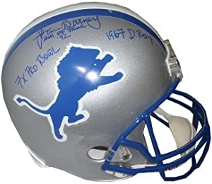 Lem Barney Autographed Hand Signed Detroit Lions Full Size Replica Helmet HOF 92, 7 X... by Hall of Fame Memorabilia
