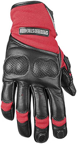 Speed and Strength Tough As Nails 2.0 Men's Leather/Textile Street Racing Motorcycle Gloves - Red/Black / 2X-Large