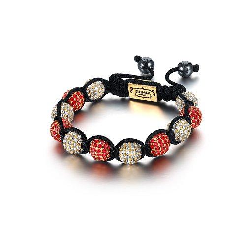 Shimla SH 027S Gold Plated Red Czech Crystal Beads with Gold Plated White Czech Crystal Beads Bracelet of Length 5.5cm - 10.5cm