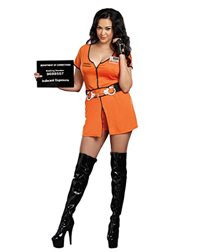 Dreamgirl 9505X Plus Size Sexy Locked Up Inmate Costume - 1X/2X - Orange (Sexy Inmate Costumes)