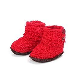 Mosunx (TM) Unisex Boy Girl Baby Newborn Infant Hand Knitting Crochet Beige Tassel Buckle Shoes Socks Boots (Red)