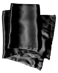 Royal Silk® Aviator Scarf - BLACK - Soft, Sleek, Stylish, Genuine 2L Satin Silk